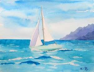 velero en azules