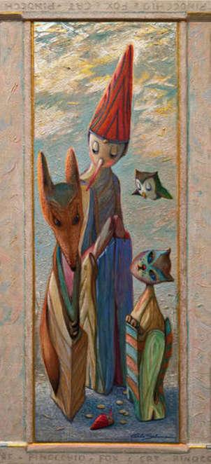 pinocho, el zorro y el gato - (marco integrado, adornado)