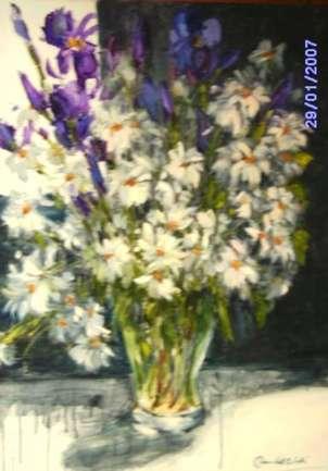 margaritas e iris violeta