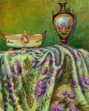 jarron tela violeta