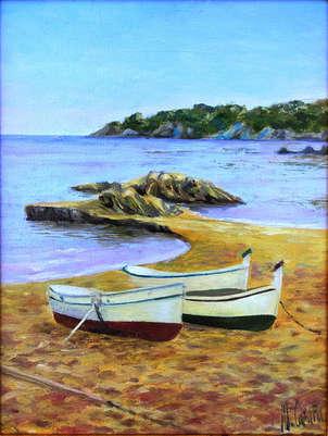 Barcas en Calella. Cuadros de Marinas