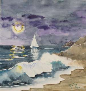 luna llena con velero