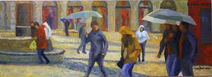 Lluvia en Plaza Mayor