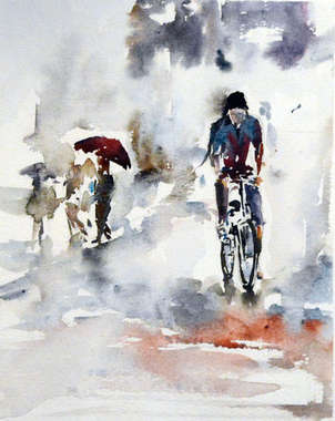 reflejos de lluvia, acuarela por ciudades mojadas