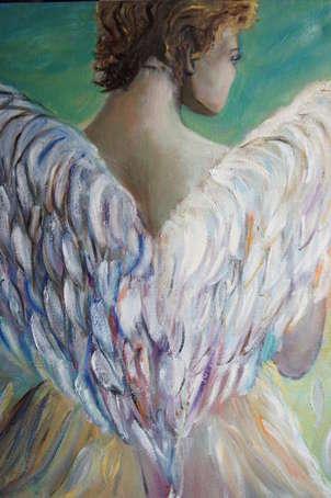 un angel observa el atardecer