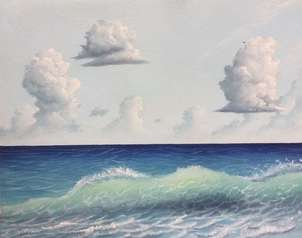 Ola de mar en cielo abierto