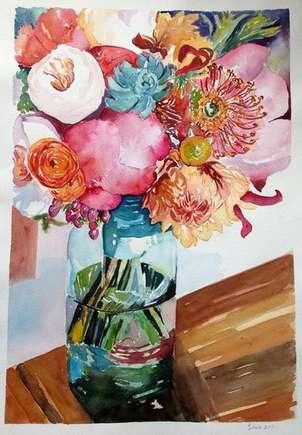 Botella con flores rosas II