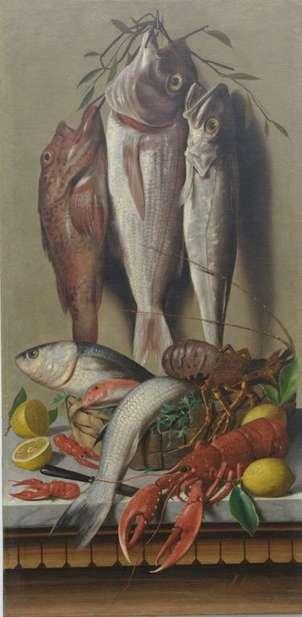Bodegón con pescados y langostas.