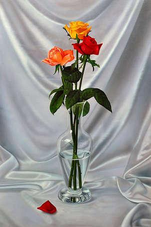 jarrón con tres rosas (py-1715)