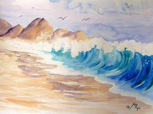 gran ola en la orilla