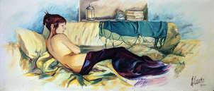 Retrato de figura femenina en reposo