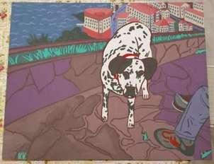 perro dálmata pelayo con paisaje de fondo asturiano
