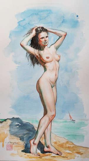 Watercolor-Female nude #210320