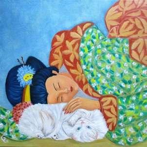 geisha con gato.