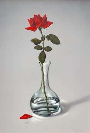 jarrón de cristal con rosa roja (py-jr07-r2)