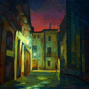 antiguo rincón de barcelona por la noche después de la lluvia