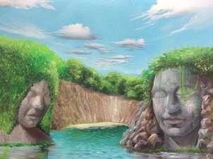 Laguna con cabezas