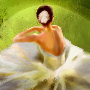 bailarina bajo luz verde