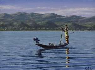 Pescando en lago inle en  myanmar (birmania)