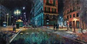 Ramblas de Barcelona. Vista nocturna de ciudad