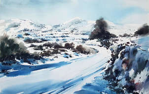 Nieve en una carretera riojana