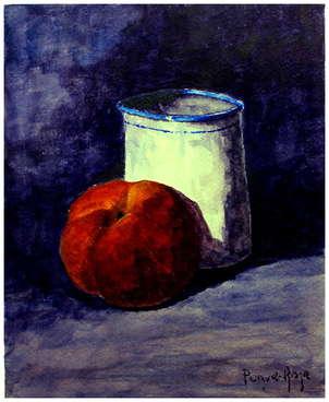 Melocotón rojo y vasija
