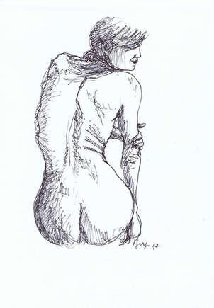 Mujer de espaldas denuda