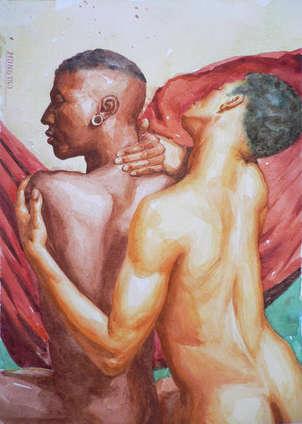 watercolour two men