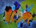 Abstracto en verdes y amarillos