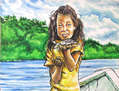 Taira, la niña del peque-peque (niña con dos bagres)