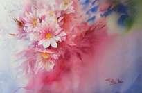 impresion floral en rosa