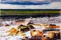 La ola y las rocas