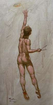 original oil painting art male nude on linen