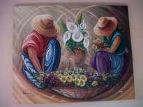 pareja vendedores de flores
