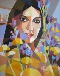 girl with flowers retrato de mayte perroni