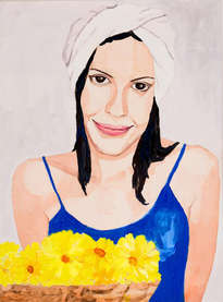 muchacha con flores