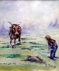 la vaca y el niño