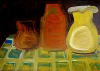 pots. oil on cardboard, 35-49, 1969.