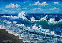 oil painting: wind plays with sea wave off the coast.