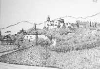 paisaje con el campanario de canyelles