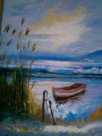 Pintura Oleo Lienzo Marina De Chile Copyright