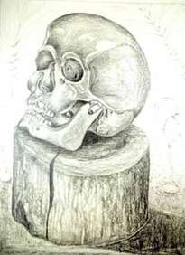 cranium of a death on a wooden block