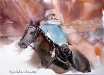 caballo de polo con jinete