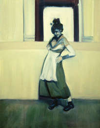 girl in a white apron