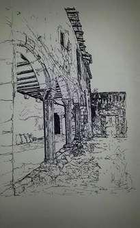 claustro gótico, tinta.
