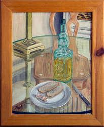 bodegón con aceite, pan y ajos
