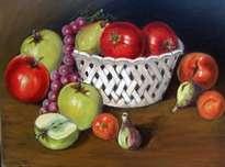óleo sobre lienzo, frutero calado con frutas