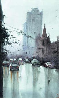 avenida lluviosa