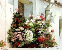 ventana floreada