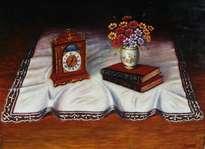 bodegón, mantél, libros, reloj y flores